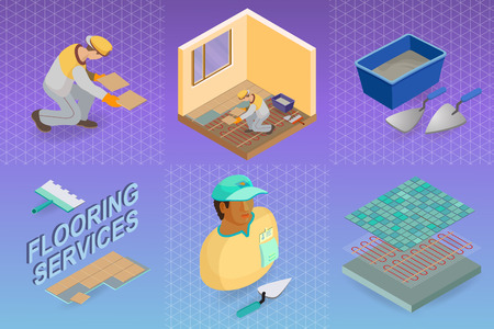 Home repair isometric template. Installing tiles on insulated floor. Repairer is laying tile. Builder in uniform holds a tile. Worker, tools and fragment of interior. Vector flat 3d illustration.