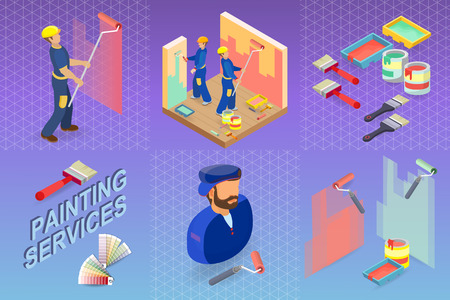 Painting services. Isometric interior repairs concept. Worker, equipment and items isometric icon. Builder in uniform, paint, decorators professional tool. Vector flat 3d illustration.