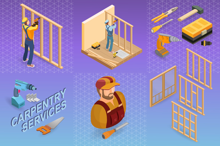 Home repair isometric template. Builder with tool near the wooden partition. Repairer in uniform holds a drill. Carpenter builds a wooden construction. There are tool-box, hammer, handsaw. Vector.