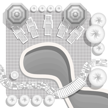 Plan of landscape with pool, bridge, stones pathway, decorative plant and furniture symbols. Patio with garden chairs and umbrella. Landscape design plan.  イラスト・ベクター素材