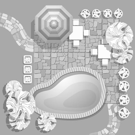 Plan de paysage avec piscine, allée de pierres parapluie, symboles de plantes décoratives et de meubles. Patio avec chaises et tables de jardin.