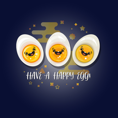 Have a happy egg. Abstract characters on dark blue background. Vector illustration. Three cartoon boiled eggs. World egg day card. Vector background.