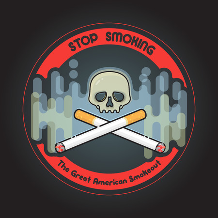 The Great American Smokeout. Crossed cigarettes and skull. Vector illustration.