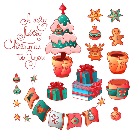 Set of cute Christmas tree, toys and handwritten words A Very Merry Christmas to You. Cartoon style vector illustration isolated on white background.
