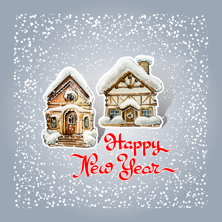 Happy New Year. Greeting card with two snow-covered houses and handwritten words on grey background. Christmas cartoon style house covered snow. Cute building on winter. Vector illustration.