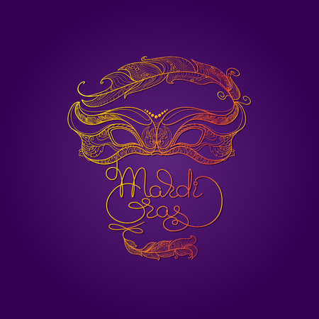 Golden carnival mask with feathers on a purple background. Beautiful design with hand-drawn lettering Mardi Gras. Vector Illustration. Ilustracja
