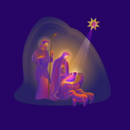 Holy night. Vector illustration of Birth of Christ.