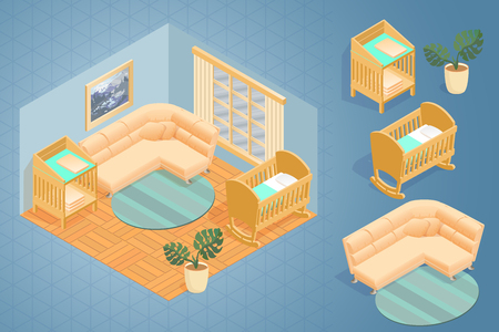 Fragment of interior with detailed isometric furniture set. Cartoon wooden bed for children, baby changing table and sofa. Baby crib in the room. Vector flat style 3d illustration. Vettoriali