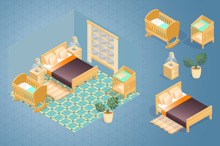 Fragment of the interior with detailed isometric furniture set. Cartoon bedroom with double bed, bedding, nightstand, bed for children, baby changing table. Vector flat style 3d illustration. Vettoriali