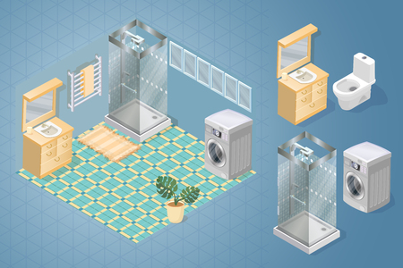 Fragment of the interior with detailed isometric furniture set. Interior design. Bathroom items and furniture isometric icons. Cartoon sink, shower, toilet. Vector flat style 3d illustration.