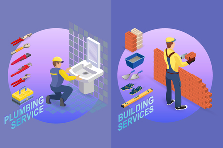 Isometric interior repairs concept. Plumber is installing washbasin in a bathroom. Bricklayer in uniform holds a brick and spatula. Worker builds a brick wall. Vector flat illustration.  イラスト・ベクター素材