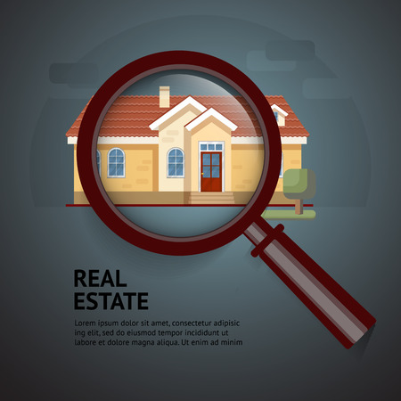 House under magnifying glass. Vector illustration of real estate. 矢量图像
