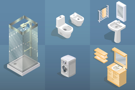 Bathroom items and furniture isometric icon set. Ilustração