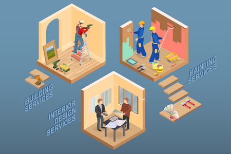 Isometric interior repairs concept. Worker is standing on ladder and is drilling a hole. Decorators are painting the walls with paint roller. Designer and customer. Vector flat 3d illustration.