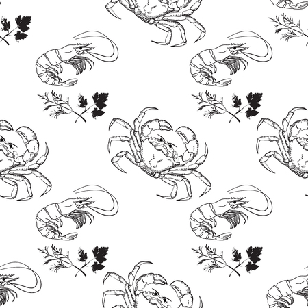 Vector seamless pattern on the marine-themed. Hand drawn linear crab and shrimp. Backgrounds of outline sea creatures isolated on white.