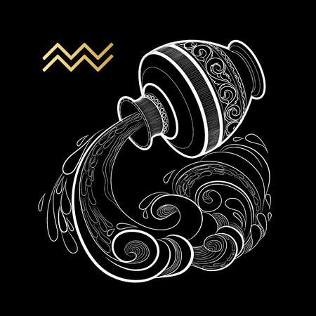 Signe du zodiaque Verseau isolé sur fond noir. Vecteur.