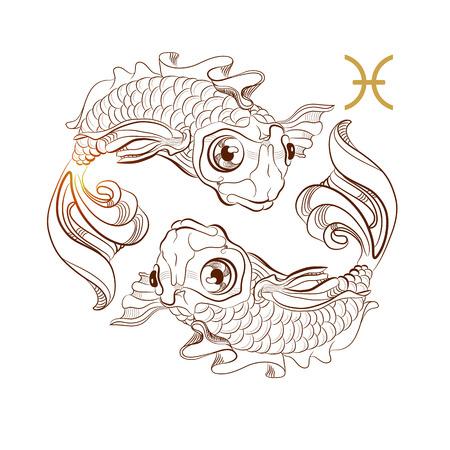 Signo zodiacal Piscis aislado sobre fondo blanco. Vector.