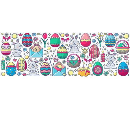 Easter elements arranged in circle. Vector card in flat design. Colorful Icon set isolated on white. Included Bunny, gift, egg, candle, flower and cake.
