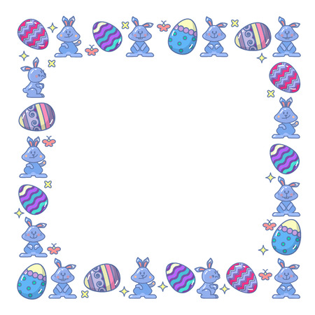 Vector abstract Easter eggs and Bunny. Holidays Design Elements for Greeting Cards arranged in square. Frame.