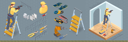 Electrical services. Isometric interior repairs concept. Colorful electricity elements with electrician and professional tools. Worker, equipment and items isometric icon. Vector flat 3d illustration. Illustration