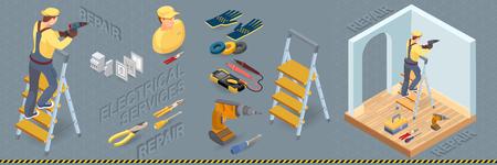 Prestations électriques. Concept de réparations intérieures isométriques. Éléments électriques colorés avec électricien et outils professionnels. Icône isométrique de travailleur, d'équipement et d'articles. Illustration 3d plate de vecteur.