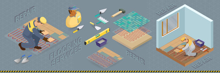 Isometric interior repairs concept. The Repairer is laying tile. Illustration