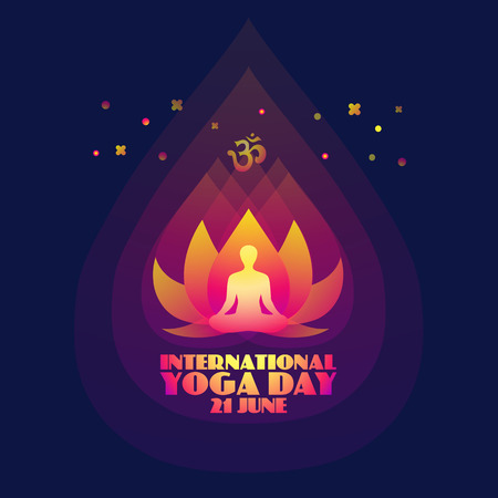 International Yoga Day. Abstract lotus and man silhouette.