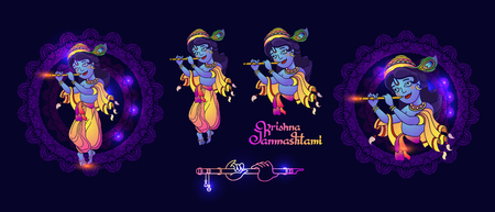 Set of Krishna Janmashtami elements for greeting card. Vector images of young Lord Krishna. Colorful illustration on blue background with mandala and handwritten lettering.
