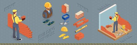 Home repair isometric template. Builder with tools.