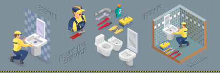 Plumber is installing washbasin in a bathroom with a blue tile. Isometric interior repairs concept. Builder in uniform holds a sink. Worker and tools. Vector flat illustration. Ilustração