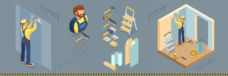Worker glues wallpaper on the wall. Isometric interior repairs concept. Builder pastes the wall with paper. Decorator, tools, accessories for glue wallpaper. Vector flat 3d illustration.