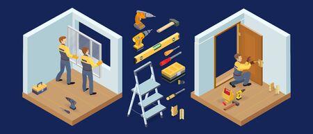 Window and door installing service. Isometric constraction repairs icons. Vector.