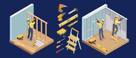 Services du bâtiment. Concept de réparations intérieures isométriques. Menuisier, outils. Vecteur.