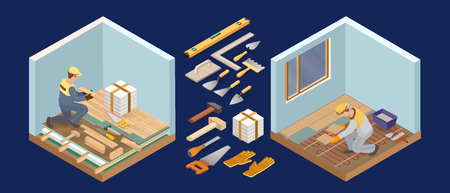 Floor installer. Builder holds a wooden parquet. Home repair isometric template. Installing tiles on insulated floor. Repairer in uniform holds a tile. Worker, tools and fragment of interior. Vector