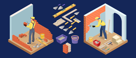 Builder with tools and materials. Plasterer is plastering the brick wall. Isometric construction or interior repairs concept. Bricklayer holds a brick and spatula. Vector.