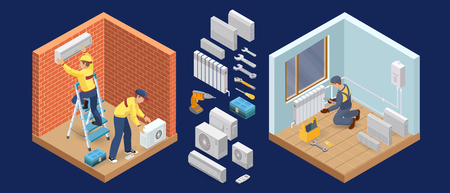 Conditioner service. Heating service. Isometric interior repairs concept. Worker and equipment icon. Builder in uniform, professional tools, radiators. Home interior renovation. Vector flat 3d illustration.