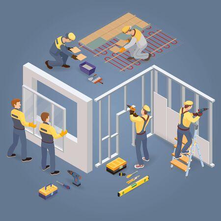 Concepto de reparaciones de construcción o hogar. Trabajadores isométricos, herramientas. Vector. Ilustración de vector