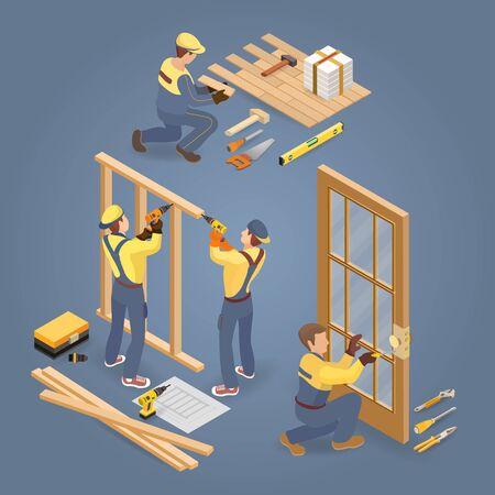 Services du bâtiment. Installateur de plancher et de porte. Ouvrier, outils. Isométrique.Vector. Vecteurs