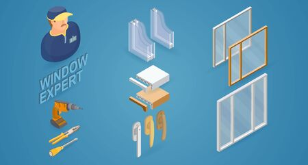 Window installation service. Isometric concept. Worker, equipment.