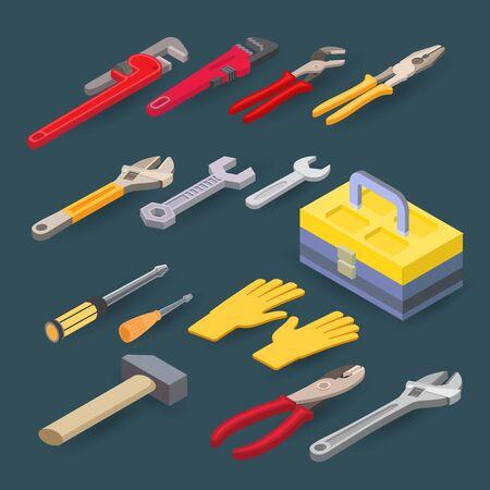 Isometric construction tools. Plumber wrench, spanner, screwdriver, hammer. Vector set. Banco de Imagens - 132174683