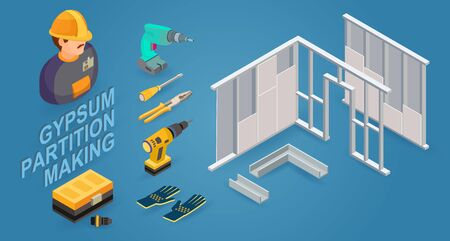 Gypsum partition making. Drywall work. Building services. Isometric icons. Vector Stock Illustratie