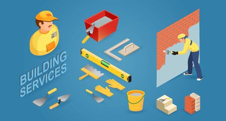 Construction building. Worker, tools and fragment of brick wall. Vector.