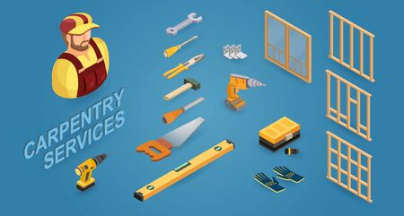 Carpenter services. Builder, tools, and wooden construction. Isometric icons. Vector.