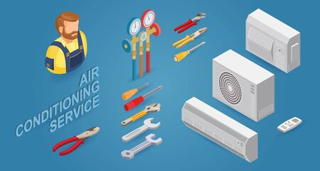Conditioner service. Builder, instrument, equipment. Vector flat 3d illustration.