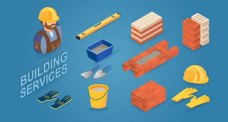 Building service. Worker, tools and elements of brick wall. Vector.