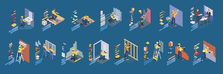 Home repair isometric icons set with workers, tools. Vector. Illustration