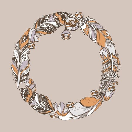 Feathers, crystals, beads ethnic elements. Vector hand drawn wreath.