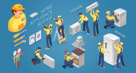 Isometric worker with tools and home appliances. Vector illustration.  イラスト・ベクター素材