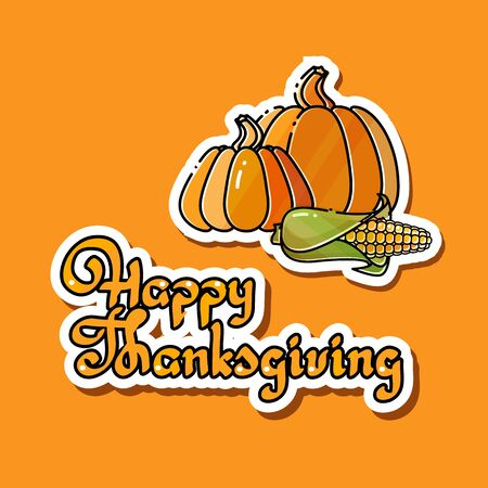 Cartoon pumpkins, corn and handwritten words Happy Thanksgiving Ilustração