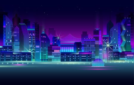 Night city panorama with neon glow on dark background. Futuristic cityscape with glowing neon purple and blue lights. City skyline. Vector illustration with megapolis, skyscrapers, buildings.